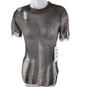 Hot & delicious metal gray top distressed shirt
